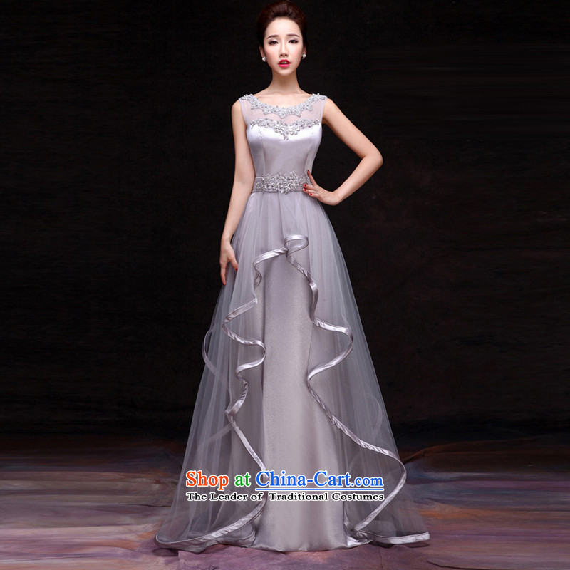 Time Syrian word diamond shoulder tail wedding dresses long bows Service Bridal temperament new 2015 Autumn Red Dress Show Girls Sau San Light Gray?XXL