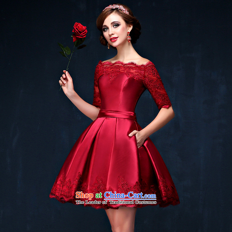 Time Syrian evening dresses 2015 new autumn moderator marriages banquet service stylish Korean bows video in thin long satin long gown slotted shoulder lace flower satin dress�XXL