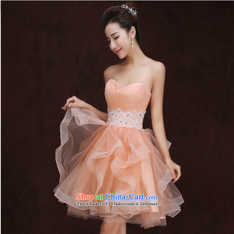 2015 new anointed chest bride small Dress Short_ bows services bridesmaid marriage yarn dress uniform female bridesmaid skirt picture color?S