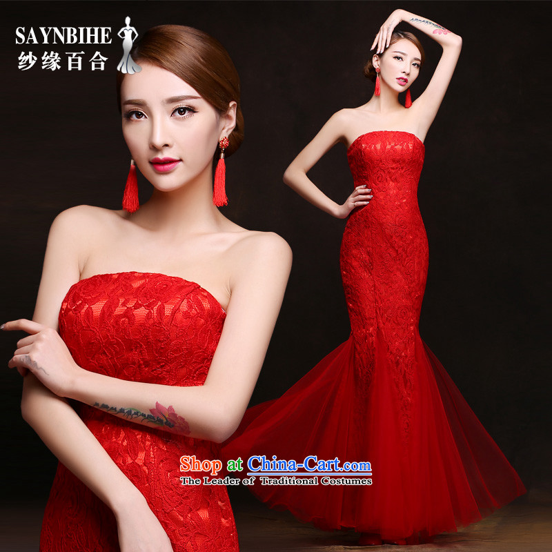 Wedding dress 2015 new bride autumn and winter clothing crowsfoot banquet service bows long lace dress Sau San video will bride dresses thin bridesmaid annual ceremony services red XL