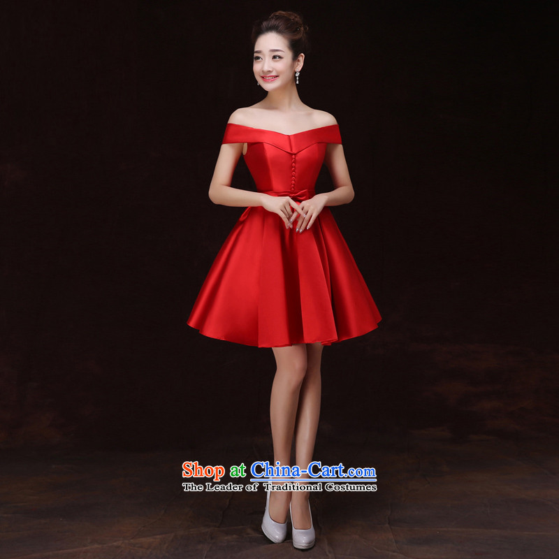 Time?2015 Autumn Syrian dresses women and one field for bare shoulders will host a dinner evening dress short skirts are Women's dress sister ball small red dress?XL
