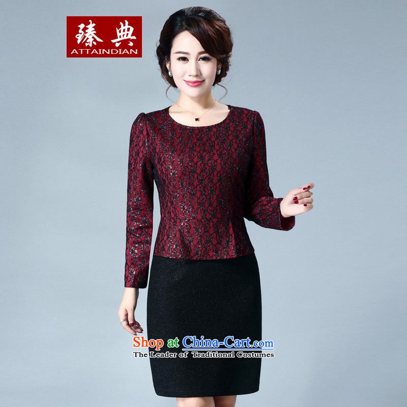 Zen code of autumn and winter 2015 new products lace stitching large middle-aged women banquet dress dresses mother false two kits�3XL deep red