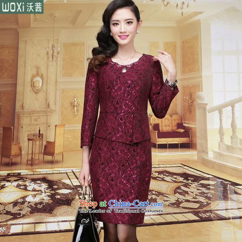 Mrs Ure?autumn 2015 Installed Kosovo new women's body graphics thin temperament decorated 9 cuff lace dresses 8130 dark violet?XL