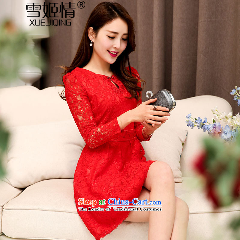 Michelle Gellar of?autumn 2015 new stylish with lace hook flower engraving long-sleeved qipao for wedding dresses large decorated in video thin female aristocratic temperament red?L