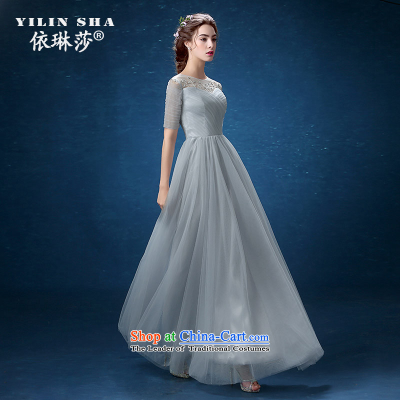 Banquet dinner dress 2015 new summer word gray shoulder length) Ms. Sau San moderator dress long skirt video thin?S