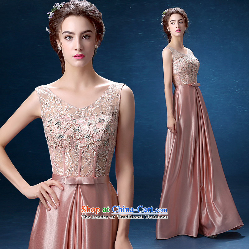 According to Lin Sha banquet evening dresses 2015 new dulls shoulders lace moderator dress long skirt Sau San video thin, long S
