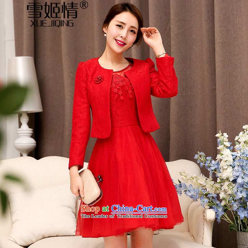 In the?autumn of 2015, Michelle Gellar) wedding-dress two kits stylish lace hook flower fluoroscopy half bon bon skirt + long-sleeved jacket round-neck collar Sau San video thin aristocratic temperament red?L