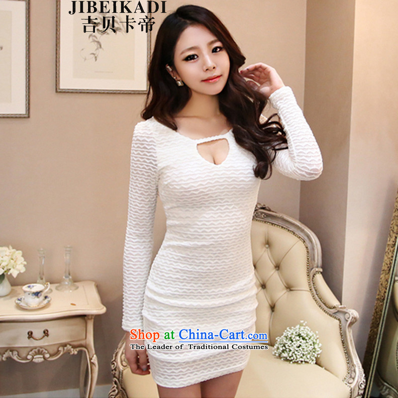 The estimated 2015 Autumn nz load new nightclubs Korean engraving package and cultivating the long-sleeved dresses and sexy dress 1227 White?L