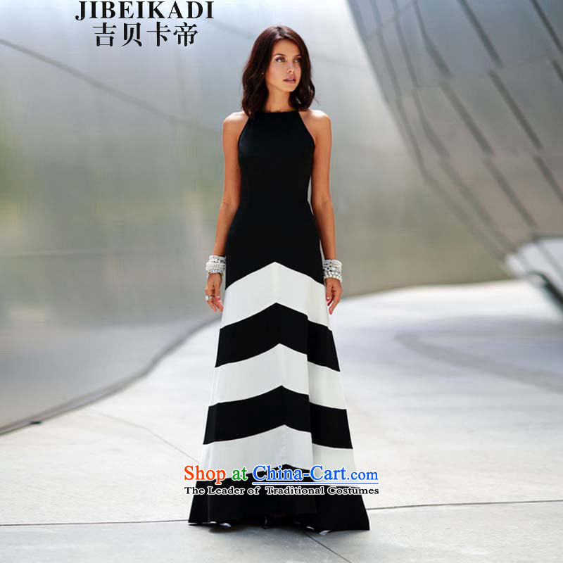 Europe and the black-and-white streaks spell receive wind belt thin stylish sexy graphics long skirt dress black聽M