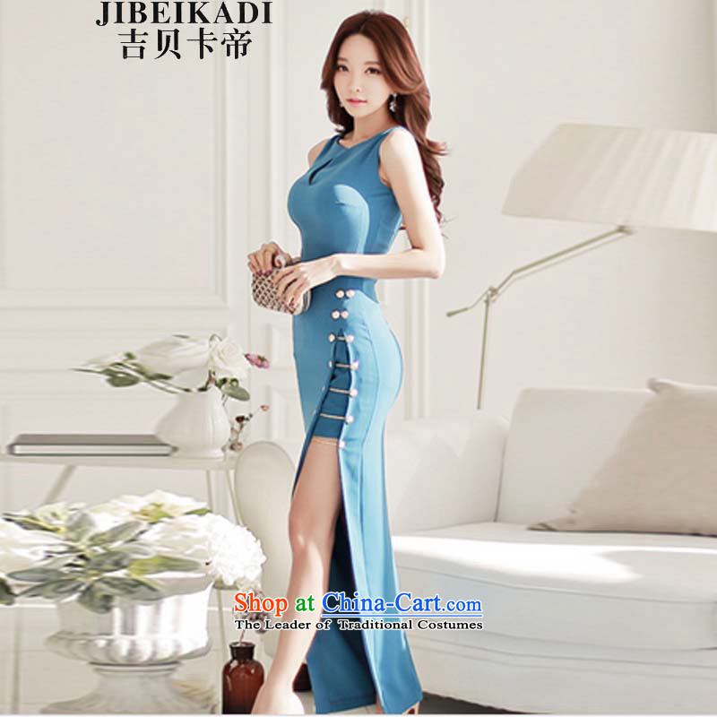New in summer 2015, the Korean version of the female sex and the elegant aristocratic package and dresses sleeveless dress long skirt female blue _Picture_ L