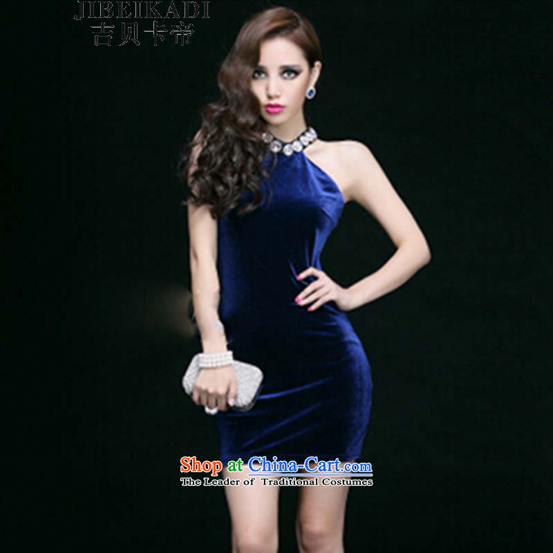 2015 Spring New sexy dresses booking pearl hang also dress bare shoulders tight package and sleeveless short skirts are blue code