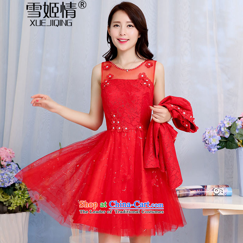 Michelle Gellar of?autumn 2015 new stylish fluoroscopy for light load chip bon bon dresses with long-sleeved jacket for larger female wedding-dress aristocratic temperament two kits red?L