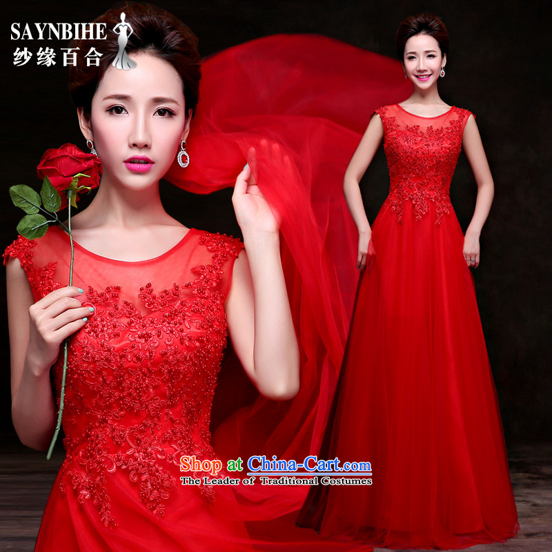Wedding dress 2015 new bride autumn and winter clothing marriage banquet dresses bows Korean lace dress Red slotted shoulder dress Sau San dress red Advanced Customization