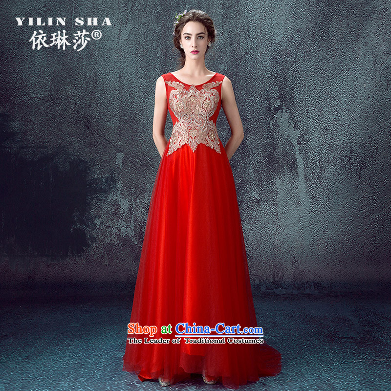According to Lin Sa 2015 autumn and winter new wedding dresses long marriages evening dress tail stylish Korea bows services RED?M Version
