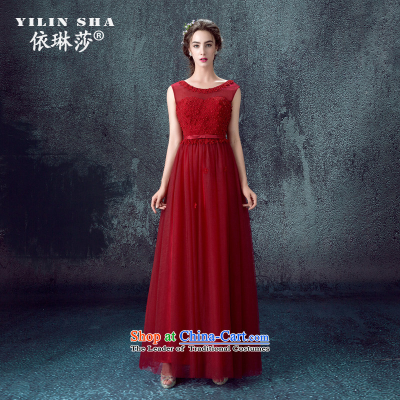 However Service Bridal wine red wedding dress 2015 new shoulders petals evening dresses long banquet wedding dresses female wine red?XL