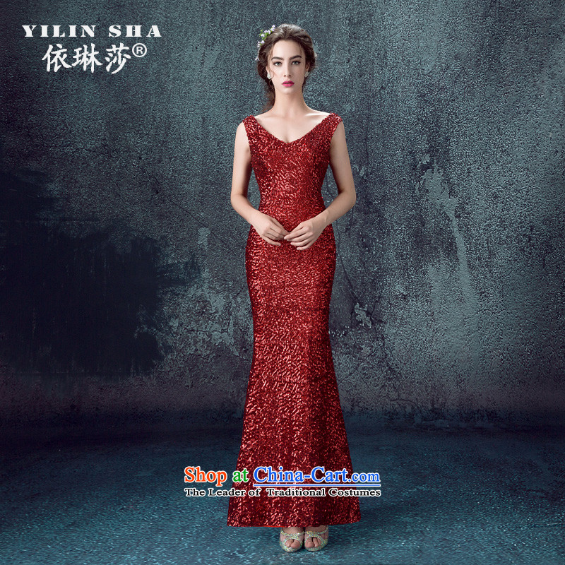 According to Lin Sa 2015, marriages wedding dresses crowsfoot bows services evening dresses moderator banquet on chip dual-shoulder length of female deep red�M