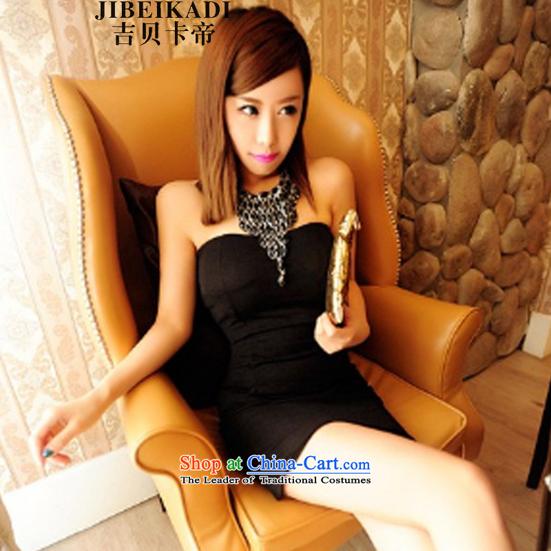 2015 sexy nightclubs elegant hanging also wipe chest skirt dresses dress skirt 5010 Black are code