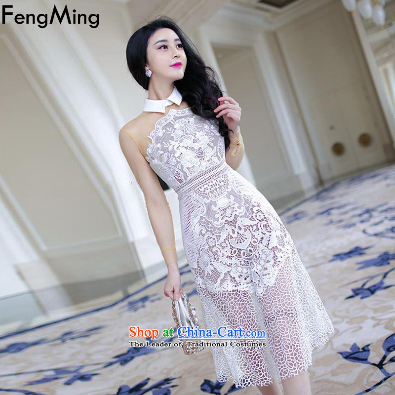 Hsbc Holdings plc Ming heavyweight lace evening dresses on the left with the Moonlight Serenade of righteousness, long-sleeved hook flower engraving dresses 2015 Autumn picture color M