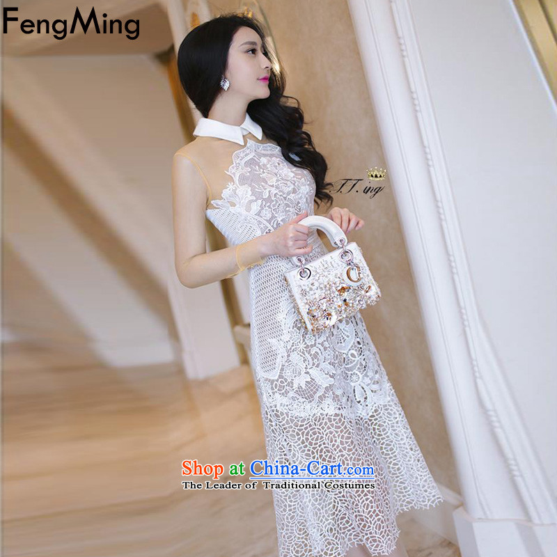 Hsbc Holdings plc Ming heavyweight lace evening dresses on the left with the Moonlight Serenade of righteousness, long-sleeved hook flower engraving dresses 2015 autumn colors M Fung Ming picture (fengming) , , , shopping on the Internet