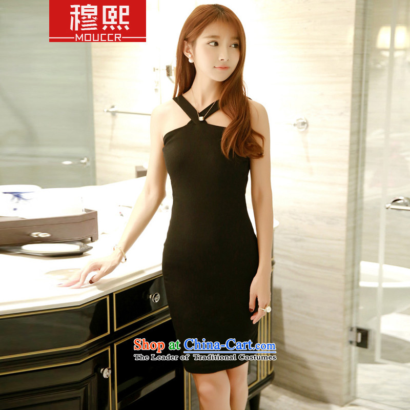 Mok-hee?2015 Summer new sexy nightclubs hang also back up Breast Beauty Girl bare shoulders video thin temperament banquet dress dresses and? 15.38?Black