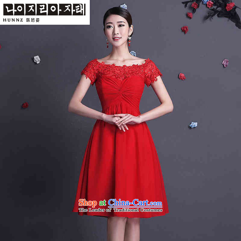 The name of the 2015 spring/summer short hannizi stylish shoulder straps word minimalist bows to Sau San bride wedding dress red short,?XXL