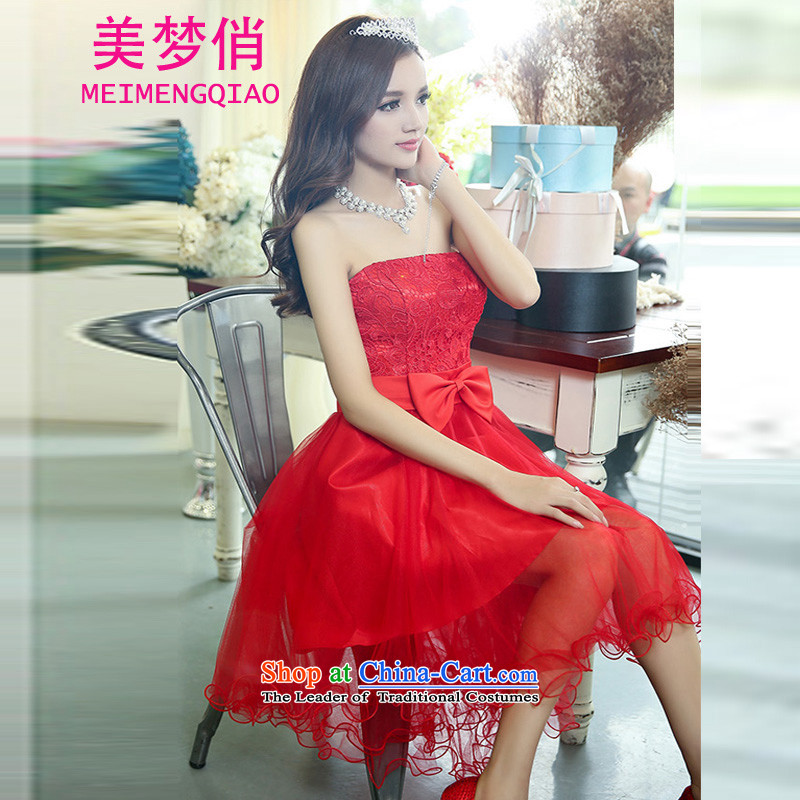 To dress the girl?2015 dream autumn new bride wedding dresses and sisters bows bridesmaid skirt lace dresses dress Sau San video thin princess skirt red?S
