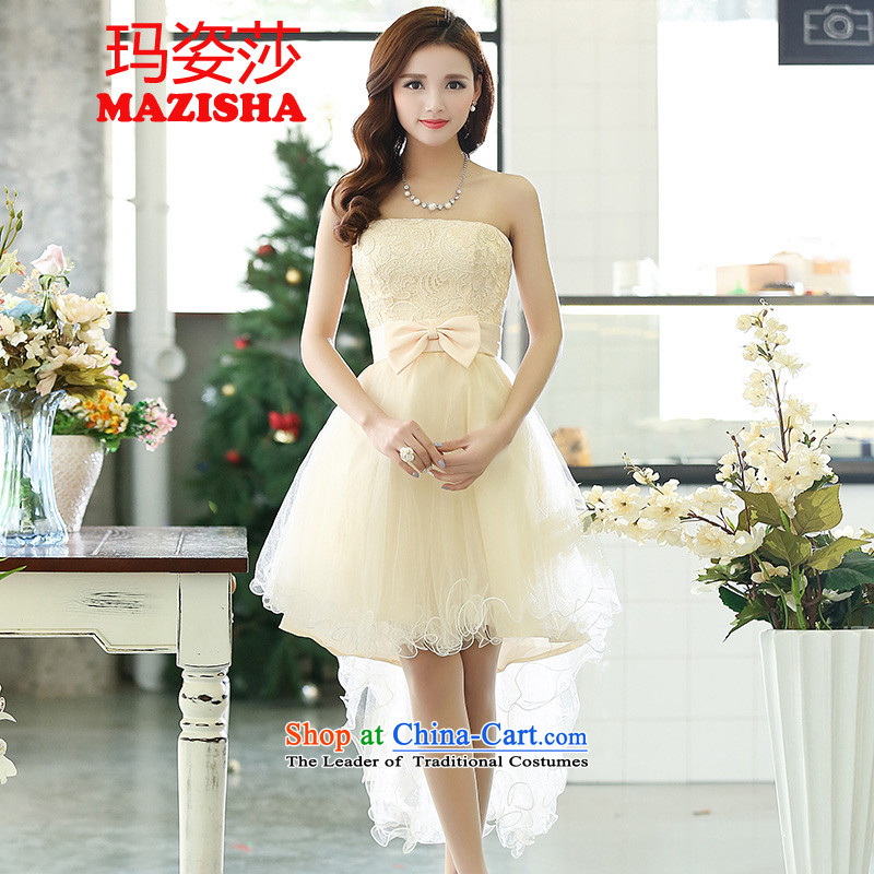 Princess Elizabeth dress Girl Gigi Lai?autumn 2015 the new bride wedding dresses and sisters bows bridesmaid skirt lace dresses dress Sau San video thin princess skirt rice white?L