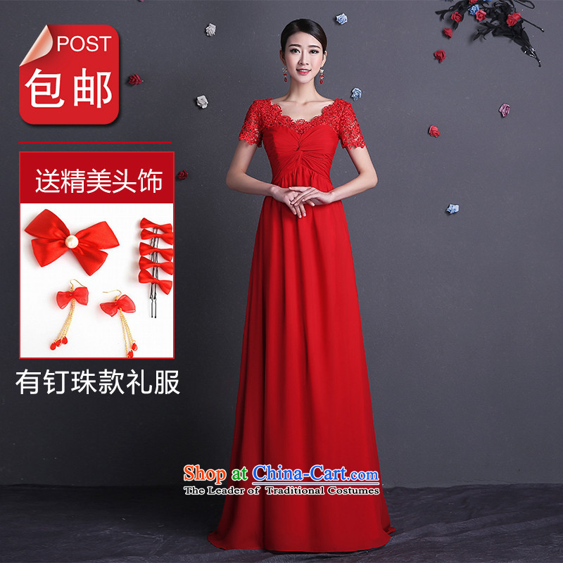 Name of the bows services 2015 new hannizi Stylish spring and summer straps bride wedding dress banquet evening dresses red pearl of the nails long V-Neck?L