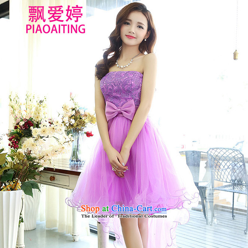 Piao Love Ting dress female�new autumn 2015 wedding dresses and sisters toasting champagne bride bridesmaid skirt lace dresses dress Sau San video thin princess skirt purple�XL
