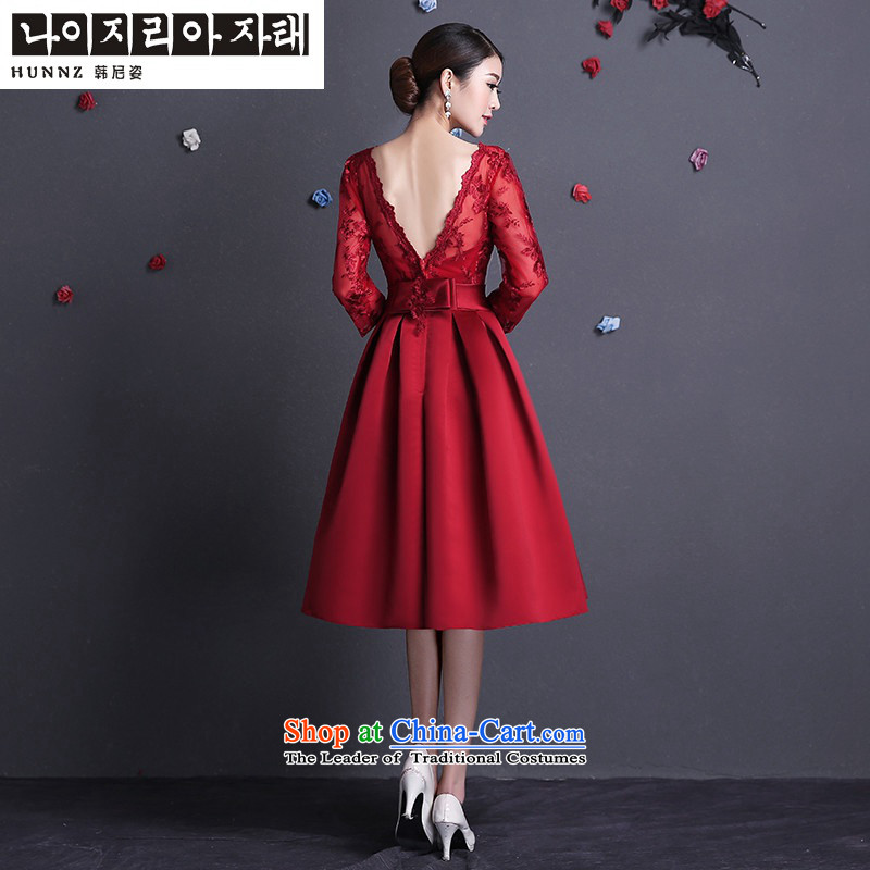 Name of the new 2015 hannizi spring and summer Korean word stylish shoulder 7 cuff bride wedding dress bows serving wine red?L