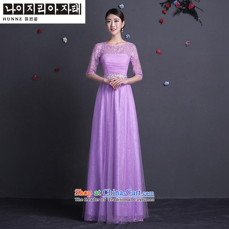 Name of the bows services 2015 new hannizi stylish upmarket bride wedding dress long banquet evening dresses purple?S