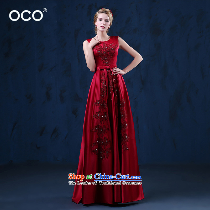 The TOCO bows services in the summer of 2015, long new marriages upscale shoulders video thin wine red banquet evening dresses wine red?S