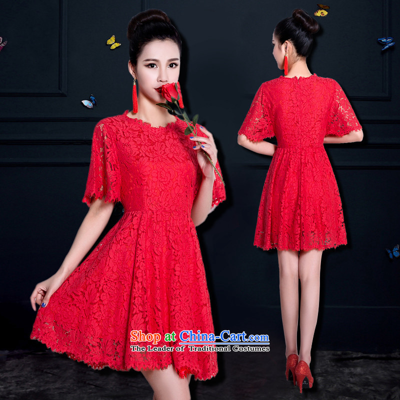 Name of large 2015 hannizi Sau San trendy new stylish bride wedding dress banquet evening dresses spring and summer RED?M