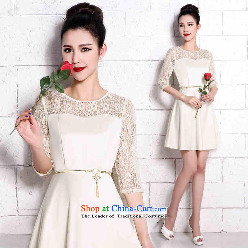 Name of the new 2015 hannizi Korean brides wedding dress short summer stylish evening dress bows service banquet white lace?S