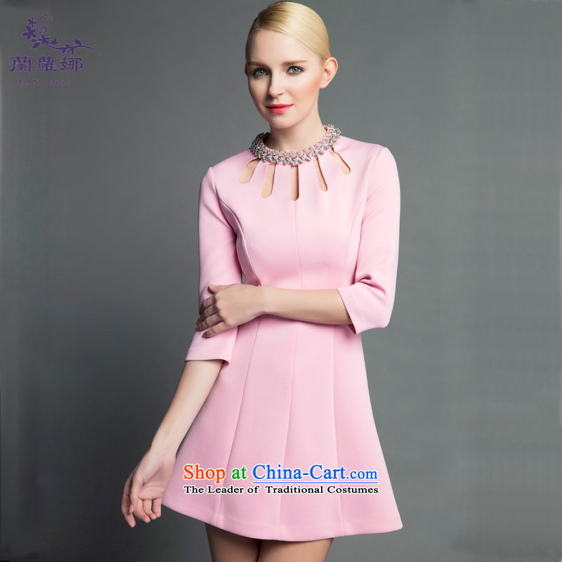 In the women's prey pink dresses dresses?2015 autumn and winter manually staple Pearl Diamond Engraving sexy 7 Annual Gala cuff bridesmaid pink?L/165 Sau San Video Thin