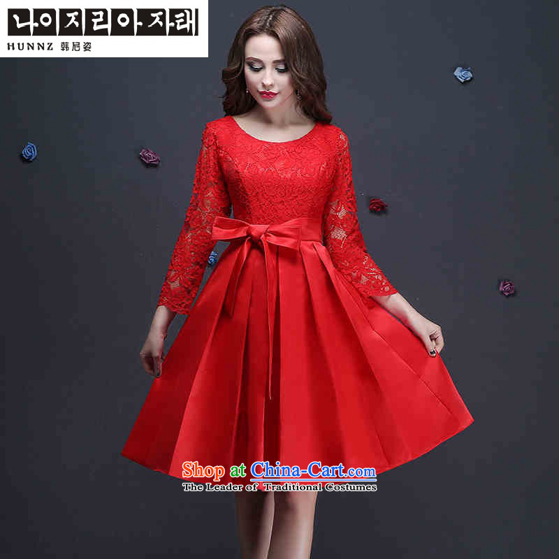 Name of the new 2015 hannizi spring and summer Korean fashion bon bon skirt bride wedding dress bows services evening dress red�S