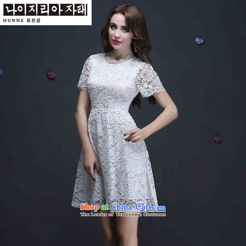 The new 2015 hannizi spring and summer Korean fashion straps, lace brides short dress bows bridesmaid Services Services White?M