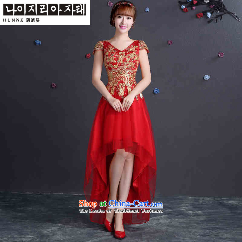 Name of the new 2015 hannizi Korean summer trendy code graphics thin bride wedding dress toasting champagne Sau San Services Red?S