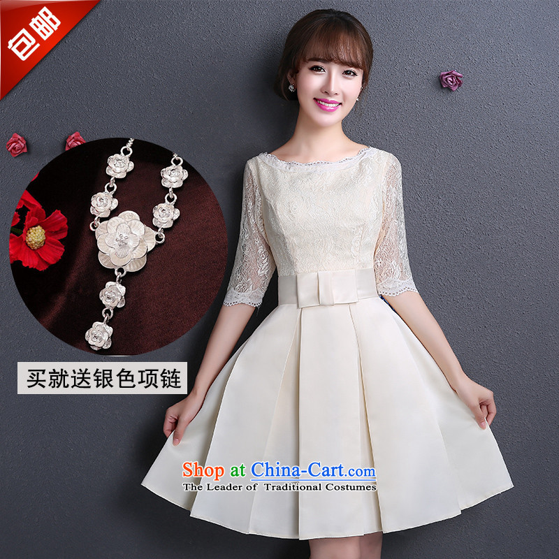 Name of large 2015 hannizi stylish Sau San new spring and summer in sweet long bride dress bows to champagne color A L
