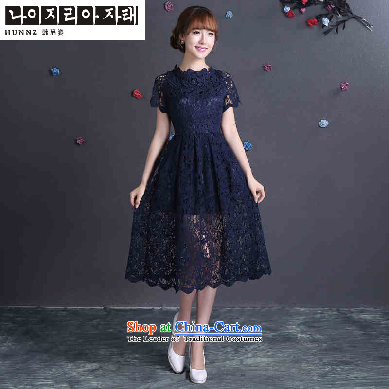 Name of the new 2015 hannizi spring and summer Korean style reminiscent of the brides wedding dress evening dresses bows bridesmaid services services deep blue?XL