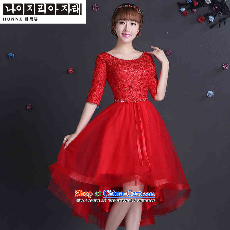 Name of the new 2015 hannizi spring and summer Korean-style red bride wedding dress evening dress uniform red?XXL toasting champagne