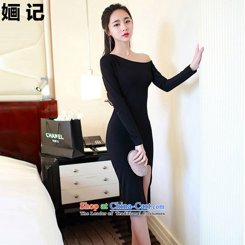 Note 2015 autumn and winter ? load new Korean female sexy Beveled Shoulder dress autumn and winter, long-sleeved Sau San package and sexy dresses long skirt black�S