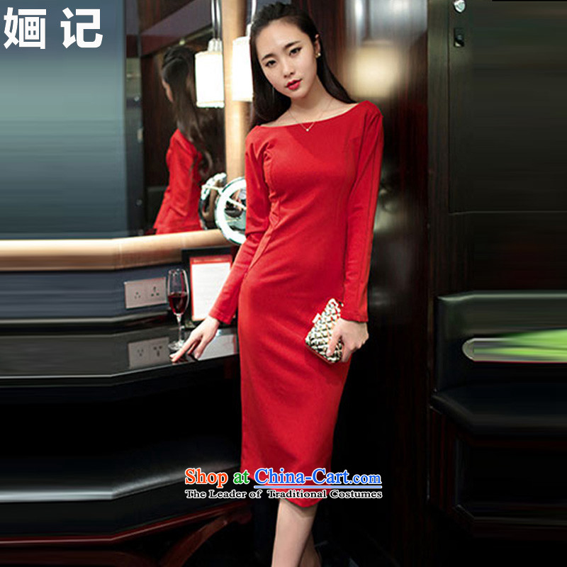 Note 2015 autumn and winter 濠� new for women and sexy word of the forklift truck for aristocratic Sau San temperament long-sleeved gown skirts and sexy dresses long skirt red聽L