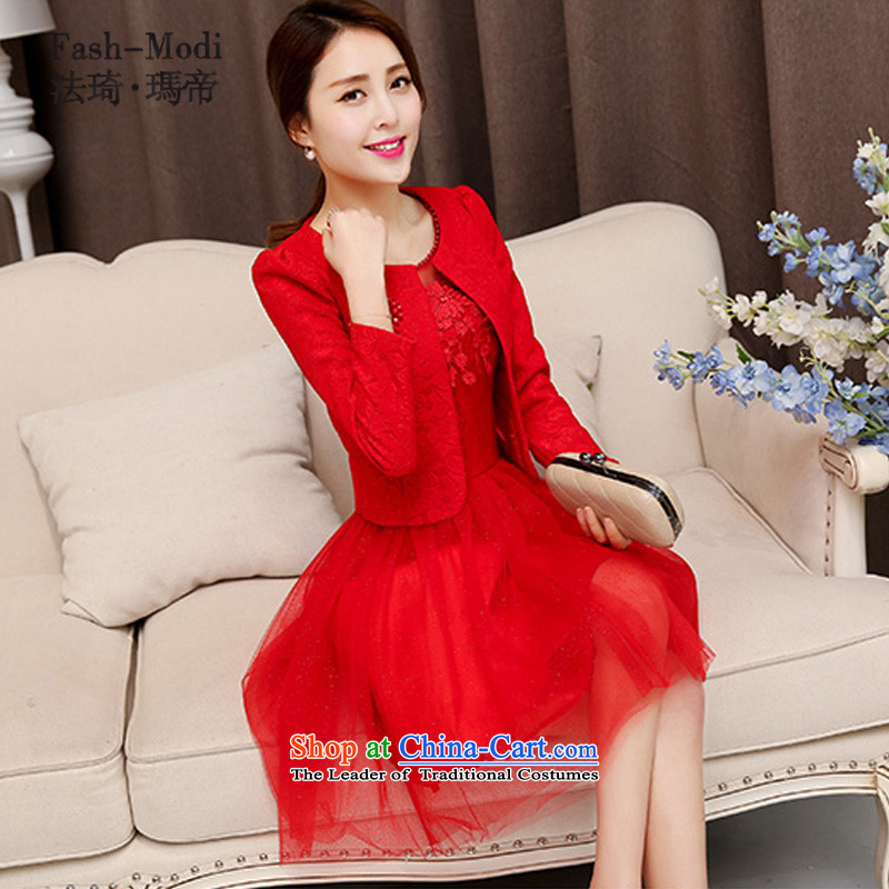 Law Chi Princess Bride in the autumn of 2015, the back door banquet bows two kit evening dresses marriage color red. L100 - 115 catties catty
