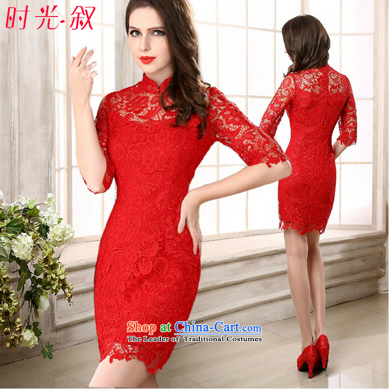 Time the? new 2015 Syria engraving female autumn red lace short skirt bride bows evening dress collar cheongsam red?S