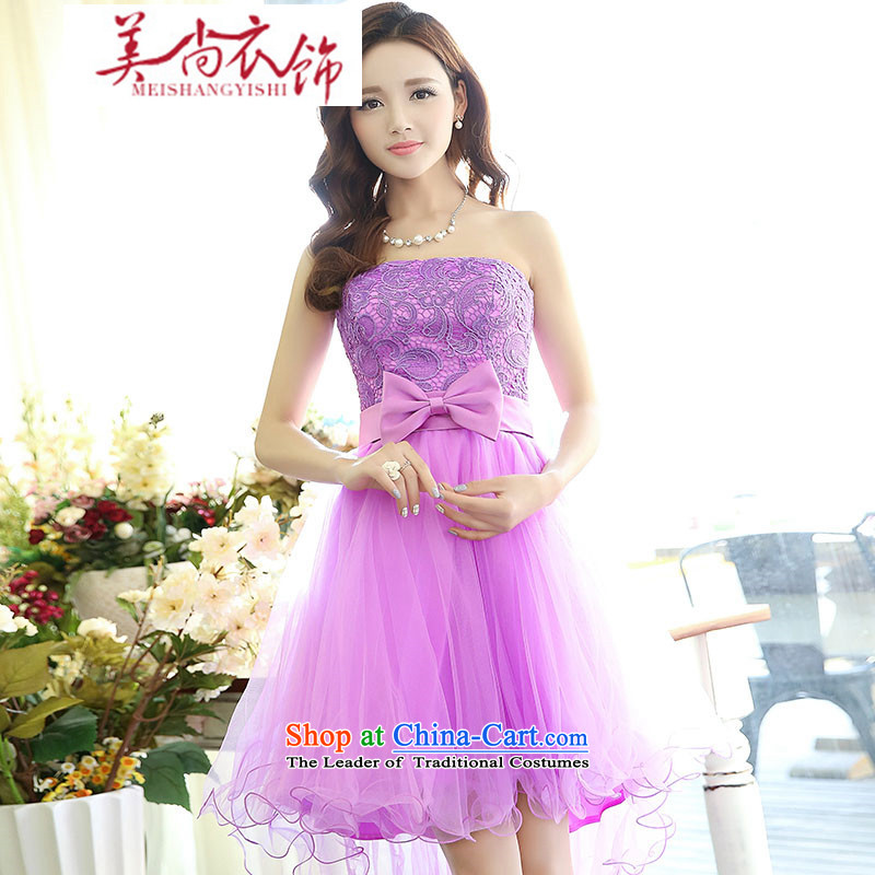 The United States is still clothing 2015 new stylish Sau San lace bridesmaid dinner serving pure color bon bon skirt large tie band anointed chest Female dress purple M