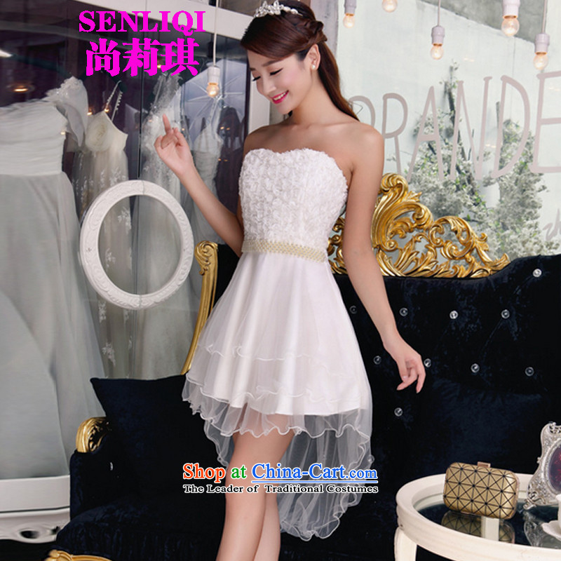Yet Liqi?2015 Autumn fish people new bare shoulders and stylish lace dresses temperament Sau San booking pearl dresses small dress bridesmaid services 003 white?S