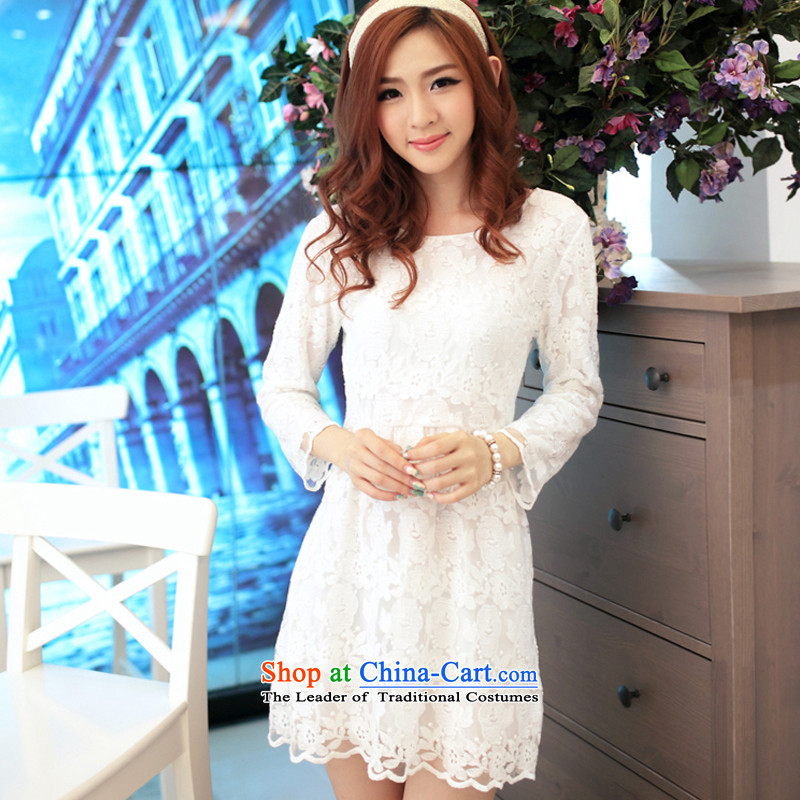 The 2015 autumn and winter is very new lace dresses women engraving lace in Sau San cuff dress dresses QM Q086A white?S