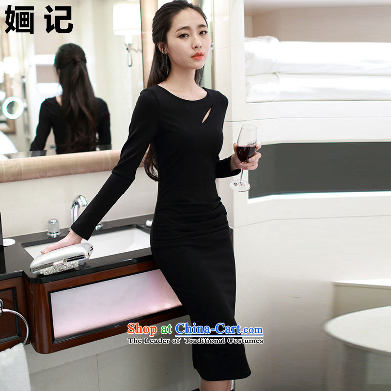 Note 2015 autumn and winter �O load new Korean citizenry back long-sleeved Sau San, forming the sexy dresses engraving the forklift truck dress long skirt long skirt black?L