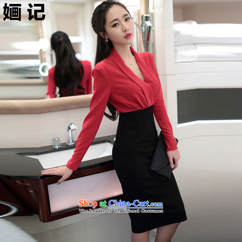 Note 2015 autumn and winter 婳 load new women's aristocratic temperament elegant long skirt wear long-sleeved gown skirt package and sexy beauty dresses long skirt picture color?L